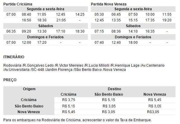Horário de ônibus Criciúma x Nova Veneza - Via São Bento Baixo