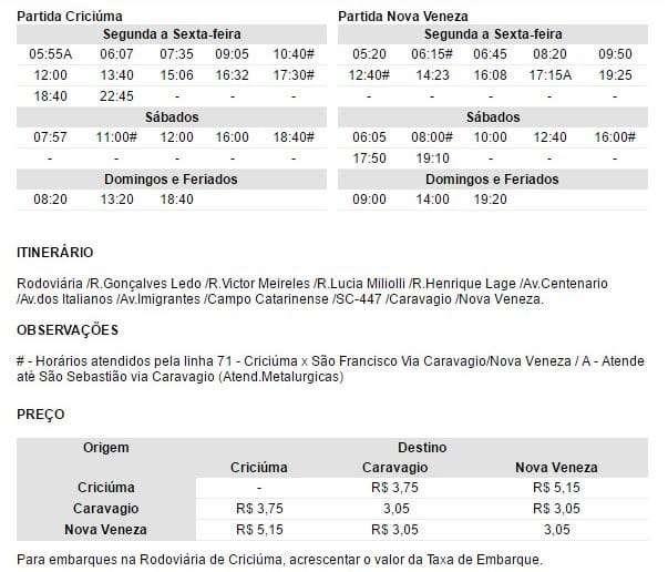 Horário de ônibus Criciúma x Centro de Nova Veneza via Caravaggio