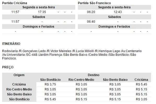 Horário de ônibus Criciúma x São Francisco, via São Bento Baixo e São Bonifácio