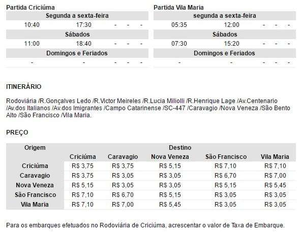 Horário de ônibus Criciúma x Vila Maria - Via Caravaggio, Centro de Nova Veneza e São Francisco
