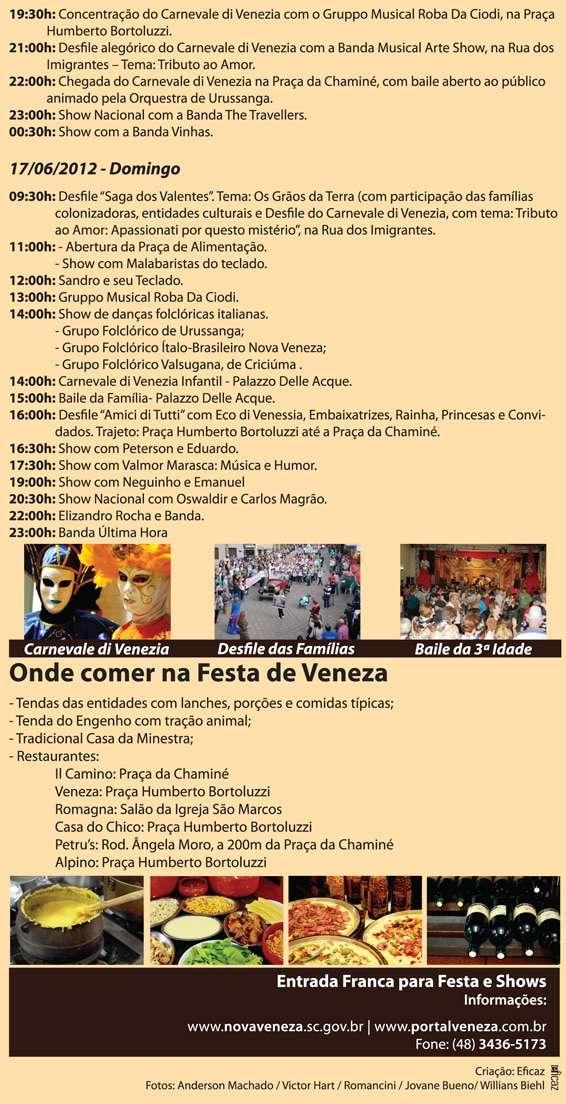 Confira programação da Festa de Veneza 2012   Programacao c