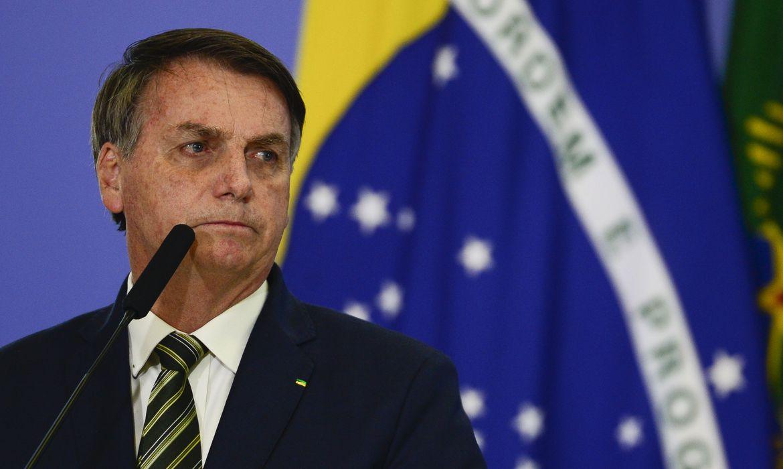O presidente da República, Jair Bolsonaro, durante a solenidade de posse dos ministros da Justiça e Segurança Pública; e da Advocacia-Geral da União no Palácio do Planalto