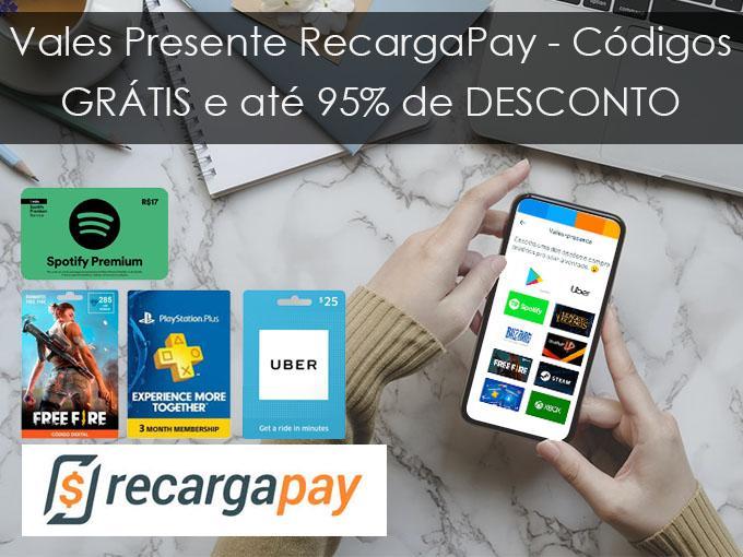 Vales Presente Recarga Pay - Códigos GRÁTIS e até 95% de DESCONTO