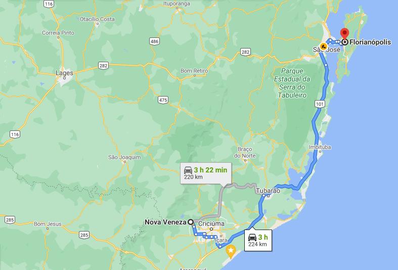 Distância entre Nova Veneza e Florianópolis