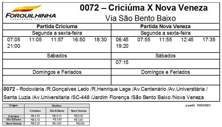 Horário de ônibus Criciúma x Nova Veneza - Via São Bento Baixo em Nova Veneza