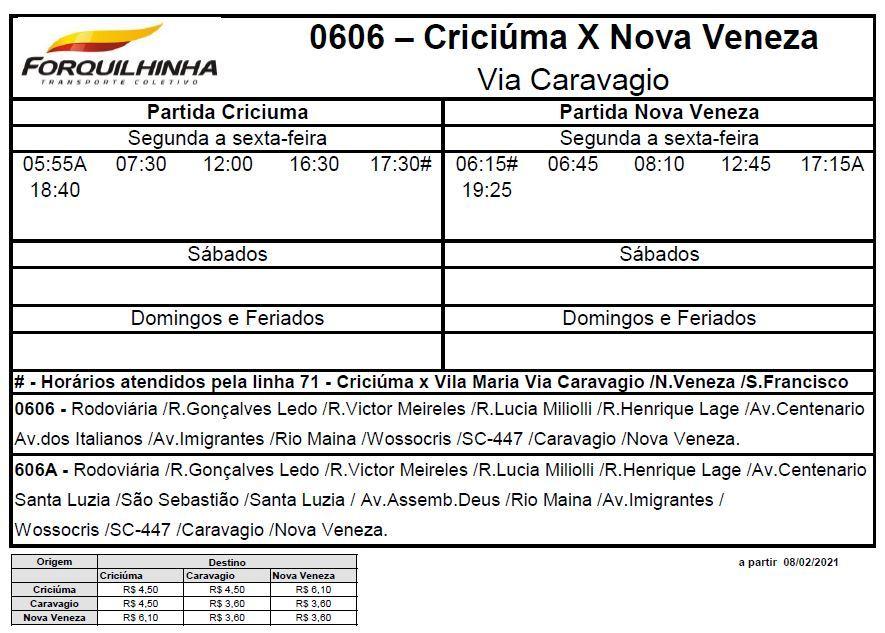 Horário de ônibus Criciúma x Centro de Nova Veneza via Caravaggi